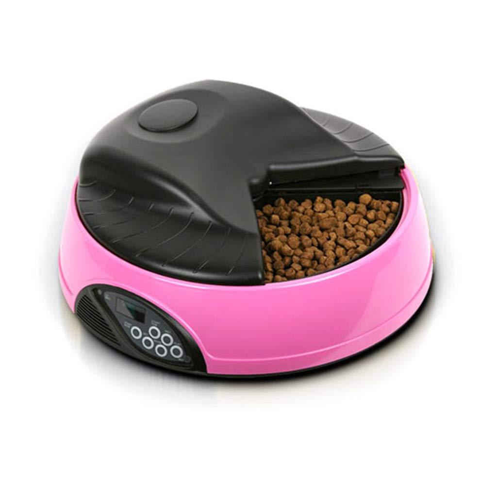 ペットフードボウル 自動ペットフィーダー、個別コンパートメント4食事フードトレイセーフティロックプログラムフィーダーペット ペットダイエット水 (Color : ピンク) ピンク