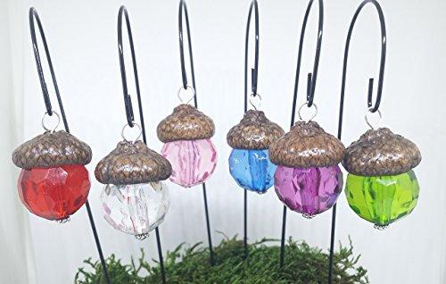 Miniature fairy garden lights. Set of 6 acorn cap lanterns. Dollhouse, terrarium décor.