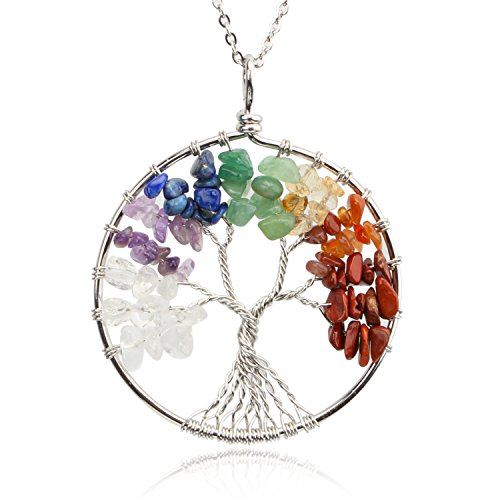 Life Charm Necklace - KISSPAT Tree Of Life Pendant Necklace Handmade Chakra Gemstone Jewelry, Great Gift For Her (A-7Chakra)