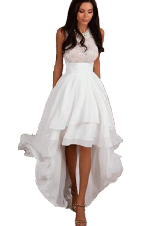 Formaldresses Simple Elegant Hi Low Beach Short Wedding Dress