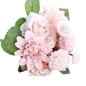 Kshion Artificial Silk Fake Flowers Peony Floral Wedding Bouquet Bridal Hydrangea Decor (A) 25