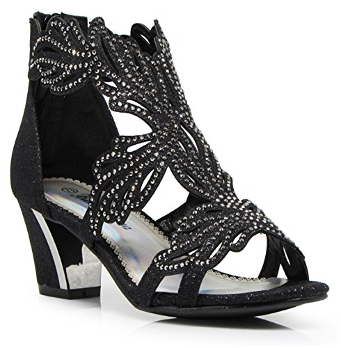 Enzo Romeo Lime03N Womens Open Toe Mid Heel Wedding Rhinestone Gladiator Sandal Wedge Shoes (11, Black) (Best Shoes For Clubbing)