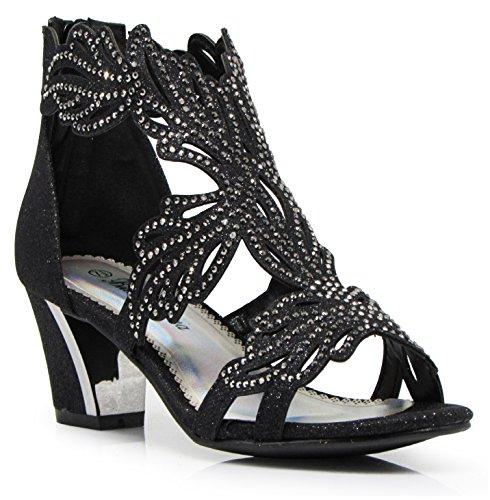 Enzo Romeo Lime03N Womens Open Toe Mid Heel Wedding Rhinestone Gladiator Sandal Wedge Shoes (8.5, Black) ()