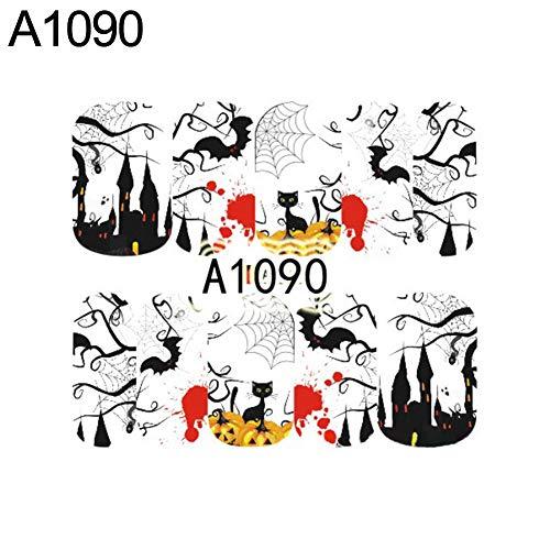 WFZ17 Halloween Skull Ghost Water Transfer Nail Art Sticker Decals DIY...