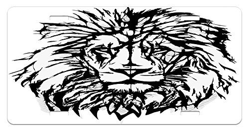 Savannah King - Lion License Plate by Ambesonne, Sketch Art of African Safari Animal King of the Jungle Savannah Wildlife, High Gloss Aluminum Novelty Plate, 5.88 L X 11.88 W Inches, Black White Pale Grey