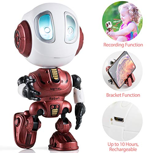 Aubllo Kids Toys Boys Girls Robots Toys Christmas Stocking Stuffers 2019 New Mini Talking Robots Gifts for Adults with 10 Hours Working Time USB Charging LED Eyes Interactive Electronic Toy(Red)