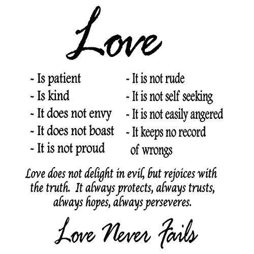 Love is Patient Love is Kind Wall Art Decor Vinyl Decal Sayings Religious Bible 1 Corinthians Wedding Marriage Scripture -V1