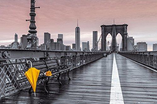 Assaf Frank - Assaf Frank New York City Brooklyn Bridge Umbrella Decorative Travel Photography Art Print Poster (24X36 UNFRAMED POSTER)