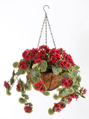 (OakRidge Miles Kimball Fully Assembled Artificial Geranium Hanging Basket, 10