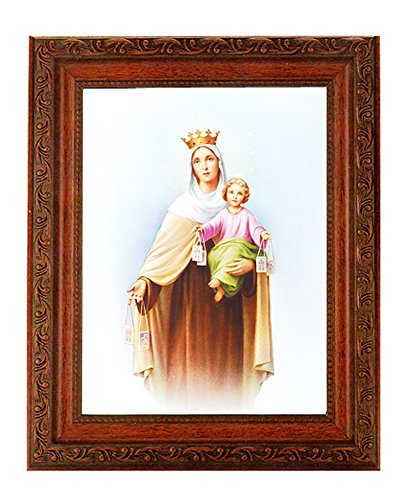"""- Our Lady of Mt Carmel Print in a Fine Detailed Ornate Antiqued Mahogany Finished 10.25"""" X 12"""" Frame"""