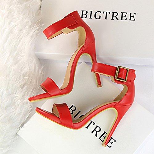 YIBLBOX Womens Ankle Strap Stilleto High Heel Open Toe Pump Shoes- Sexy Dress Formal Party Dress Sandal Red 8ZrFj333Y