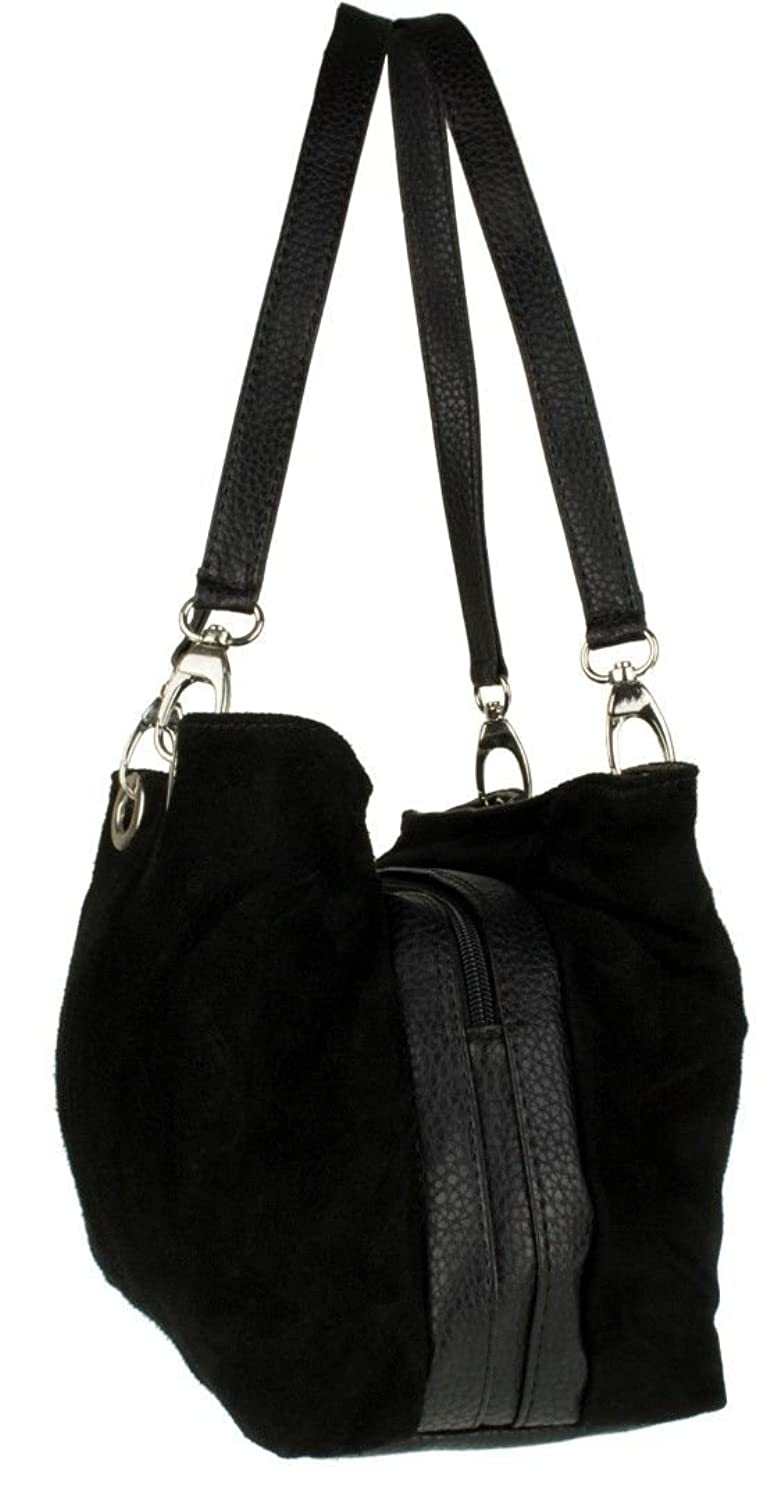 cce6346ca3 SALE SALE Womens Small Twin Top Multi Zip Pockets Italian Suede Leather  Shoulder Bag (Balck)  Amazon.co.uk  Shoes   Bags