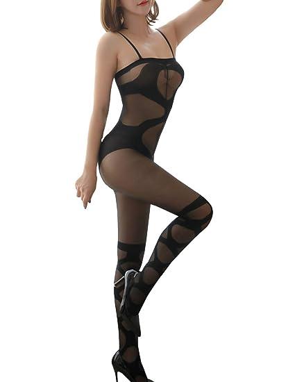 cc8318296 Clearance Women Sexy Lingerie Open Croth Fishnet Babydoll Bodysuit  Sleepwear Nightwear Dress Skirts Bodystocking (Black