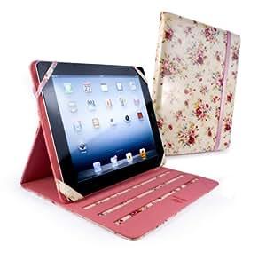 Tuff-Luv Slim-Stand - Funda de tela laminada para Apple iPad 2 / iPad (Retina) - beige (jardin secreto)