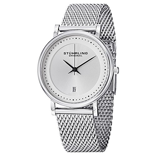Stuhrling Original Men's 734GM.01 Analog Classic Ascot Casatorra Elite Swiss Quartz Date Silver Dial Stainless Steel Mesh Bracelet Watch ()