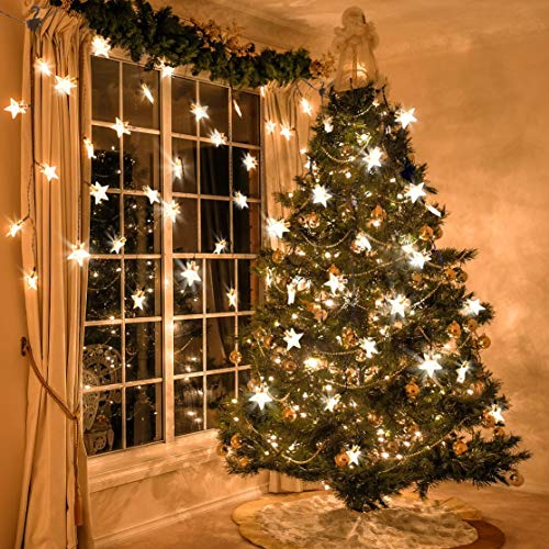 Star Curtain Light, MaLivent LED Window Curtain Lights Plug In with 12 Strings 8 Flashing Modes,Christmas Decoration Strings Lights for Bedroom Stairs Wedding Party, Warm White