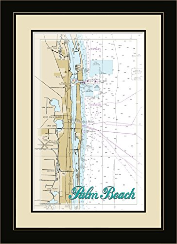 Northwest Art Mall FL-9510 FGDM Palm Beach Florida Framed Wall Art, 16