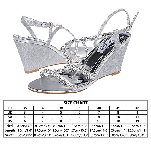 SheSole Women's Wedge Sandal Wedding Shoes Silver Size 11