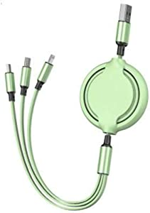 LVSENLIN 3 in-1 Retractable Multi-Function Charging Cable for Android & Apple & Type-c (Data not transferable) (Green)