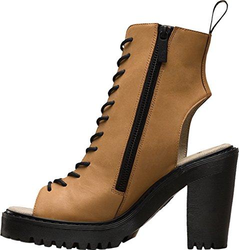 Women's Lace Heel Tan Martens up Dr Boots Open Carmelita FqxR5qTv