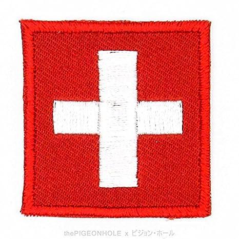 [divertido con banderas.] Swiss Cruz; Suiza (rojo, blanco) – bandera nacional sobre, Sew de hierro en parche bordado – regalo, recuerdo, Applique # ...