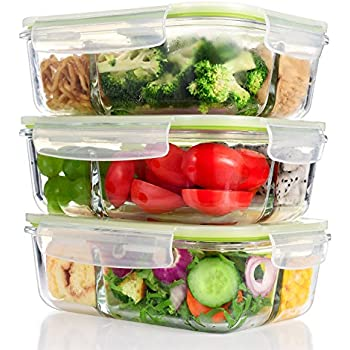 ME.FAN Glass Meal Prep Food Storage Containers [3 Pack] 3-Compartment Container Set with Snap Locking Lids, BPA-Free, Airtight, Leakproof, Microwave, Oven, Freezer & Dishwasher Safe (36oz / 4.2Cups)