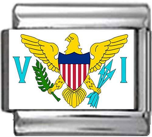 (Stylysh Charms US Virgin Islands Flag Photo Italian 9mm Link PC253)