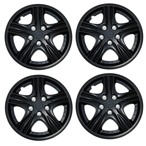 (TuningPros WSC3-510B15 4pcs Set Snap-On Type (Pop-On) 15-Inches Matte Black Hubcaps Wheel Cover)