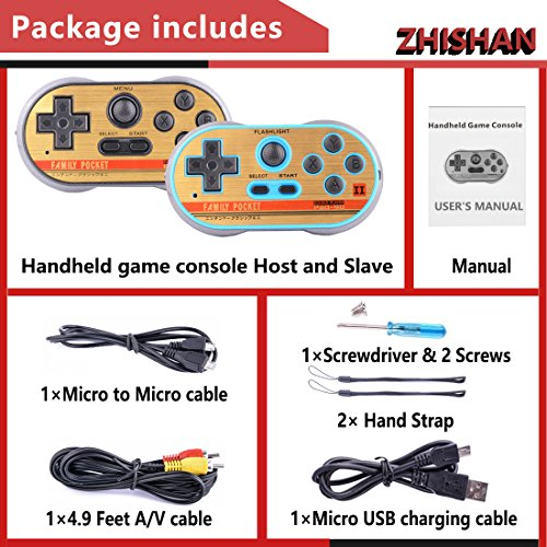 ZHISHAN Retro Games Controller Mini Classic Handheld Game Console Toys for Kids Gamepad Joystick Support Dual Battle Load in 260 Video Games Connect and Play with TV Gaming Station (Black+Blue) by ZHISHAN (Image #7)
