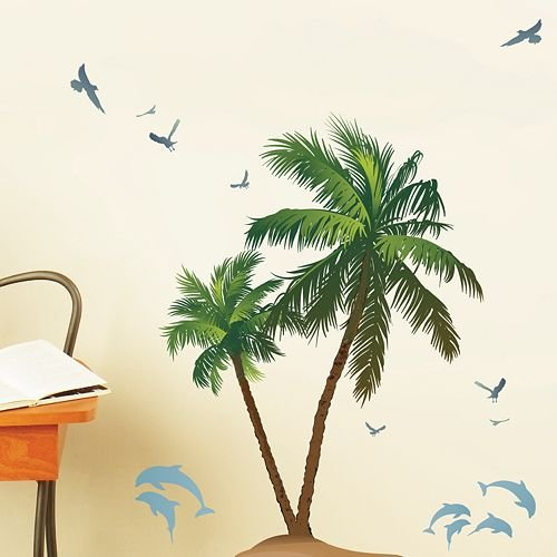 Die Cuts With A View Wall Art Palms & Dolphins Peel & Stick, Green/Brown/Blue, (Dcwv Green)