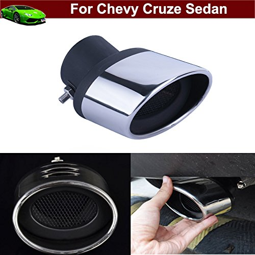 Car Truck Chrome Stainless Steel Exhaust Rear Tail Pipe Tip Tailpipe Muffler Pretector Cover Trim Silver Color Custom Fit For Chevy Cruze Sedan 2009 2010 2011 2012 2013 2014 2015 2016 2017 2018 - Custom Truck Exhaust