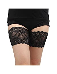 Yusongirl Women Lace Thigh Bands Elastic Anti-Chafing Prevent Thigh Chafing 1 Pair