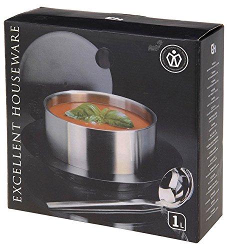 Soupi/ère en acier inoxydable Soupi/ère Bol /à soupe Service de Terrine 1L