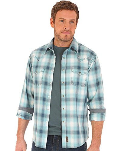 Wrangler Men's Retro Plaid 2 Pocket Long Sleeve Snap Shirt Teal - Wrangler Shirt Blue Twill
