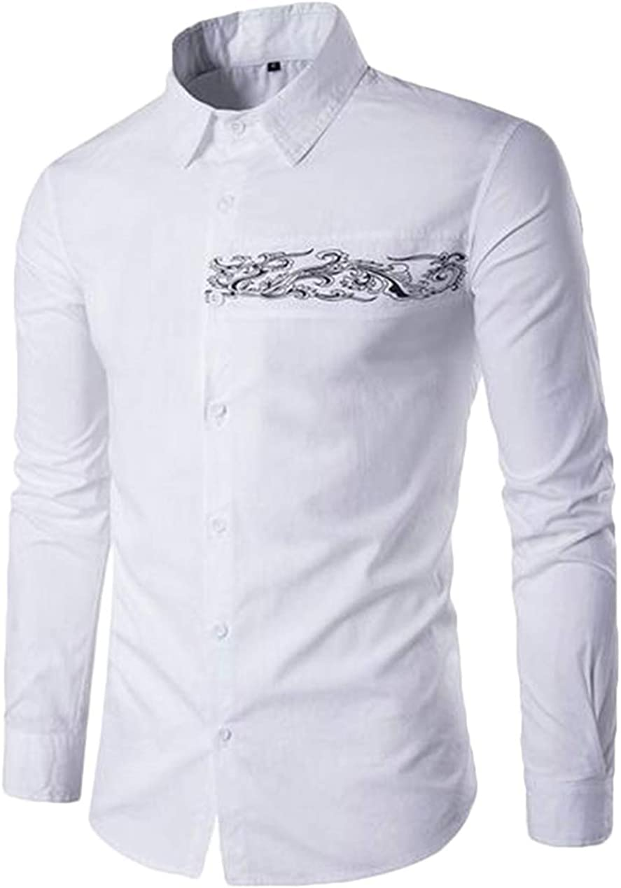 XTX Mens Fashion Casual Regular Fit Long Sleeve Dragon Pattern Button Down Shirts