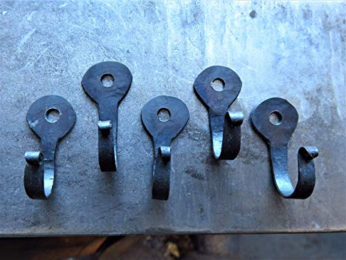 Hand Forged Small Wall Hooks - Set of 5