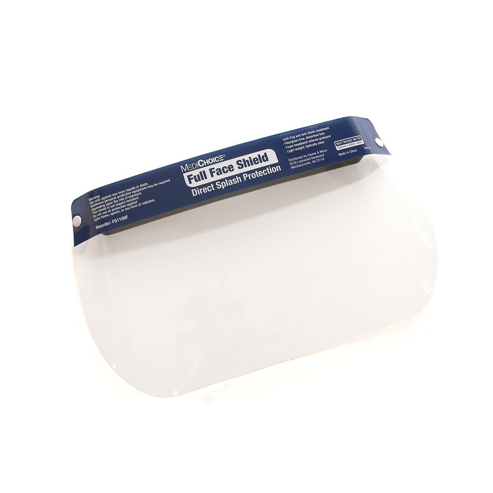 MediChoice Face Shield, Full Length Visor, Anti-Fog, 1314FS1100F (Box of 24)