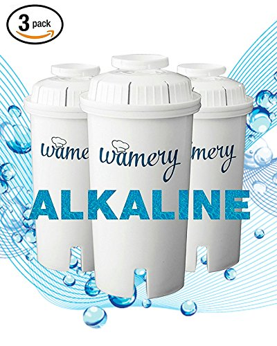 Wamery Water Filter Replacement 3-Pack. Fits and Brita's Pitcher. Ionizer and Purifier Cartridge system. NSF ANSI Certified. Reduce Chloride, hard metals from kitchen faucet. (ALKALINE: Ceramic) (Fat Pitcher)