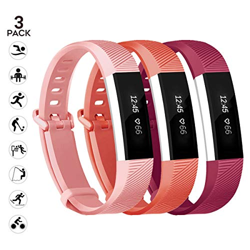 Newest Compatible with Fitbit Alta HR and Alta Band Replacement,sunyfeel 12 colors Fashion Sports Silicone Personalized Replacement Bracelet with Metal Clasp for Fitbit Alta HR/Alta