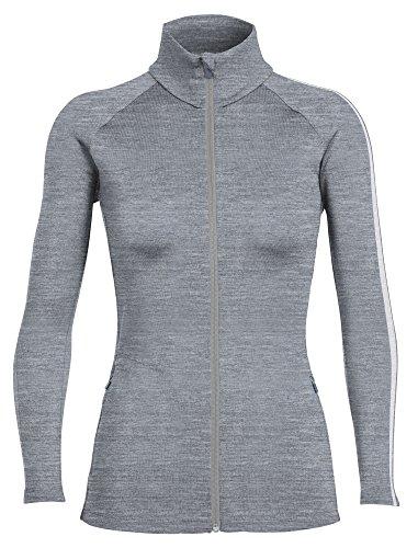 Icebreaker Womens Sweater - Icebreaker Merino Women's Affinity Long Sleeve Zip Sweater, Snow/Metro Heather, Large