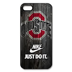luckhappy123 store Custom NCAA Ohio State Buckeyes logo and nike logo black plastic Case for iphone 5 cover