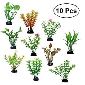 10pcs Plastic Aquatic Plant Miniature Plants Pots Bonsai Craft Micro Landscape Fish Tank DIY Decor