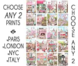Pink Nursery Travel Theme, Set Of 2, Paris, London, Italy, New York, Personalized Teen Girls Name Bedroom Decor, 6 Sizes 5x7' to 24x36'