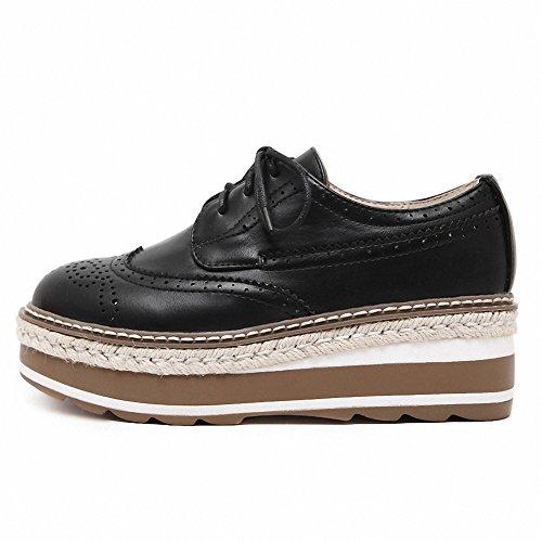Lace Hecater Platform Vintage Oxfords Wingtip up Women's Black Brogues Shoes CppqOx6fwK
