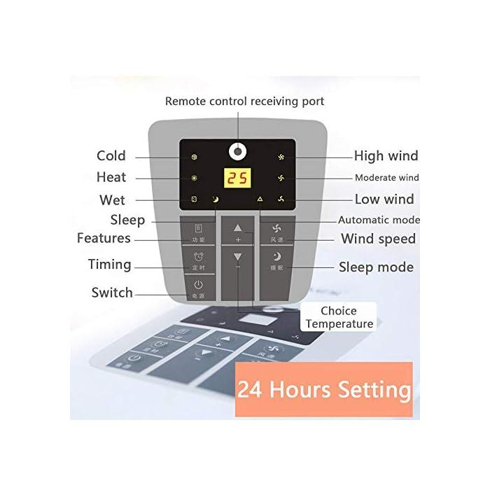 51eHGVyEHlL Multifunción: combinación de aire acondicionado portátil, con enfriador de aire, deshumidificación, ventilador y funciones de calefacción. Función de enfriamiento: capacidad de enfriamiento de 14000BTU, siente el efecto de enfriamiento súper potente, con sistema de filtración de aire, puede mejorar la calidad del aire. Función de deshumidificación: le permite extraer hasta 60 litros de exceso de agua y humedad de la atmósfera todos los días.