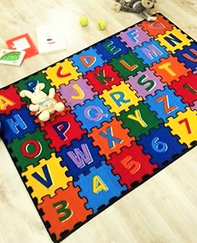 HR 5'' X 7'' ABC PUZZLE (A-Z AND 1-9) KIDS EDUCATIONAL NON-SLIP PRIME RUG FOR SCHOOL CLASSROOM AND BEDROOM(ABC PUZZLE)