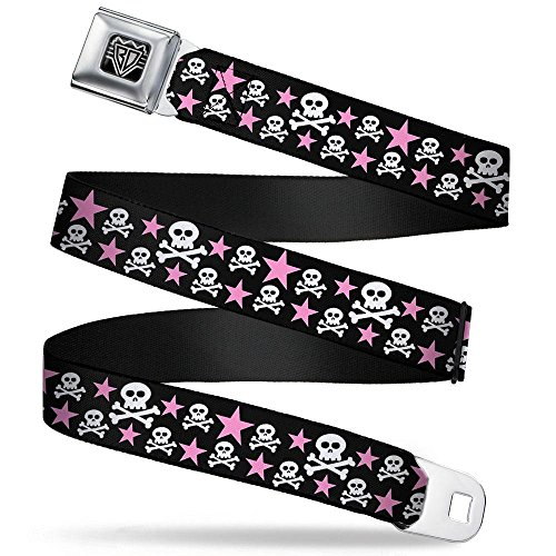- Buckle-Down Seatbelt Belt - Skulls & Stars Black/White/Pink - 1.5