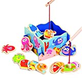 Fishing Pond (18x18cm) with 12 Wooden Ocean Animals Magnetic Fishing Toy with 2 Fishing Rods- 2 Players 2-3 Year Old (12-Pieces)