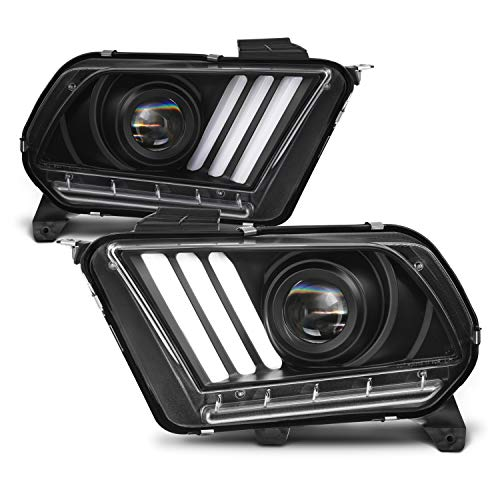 For 2013-2014 Ford Mustang Black [Sequential Tube] LED Signal [HID/Xenon] Projector Headlights Driver+Passenger Pair