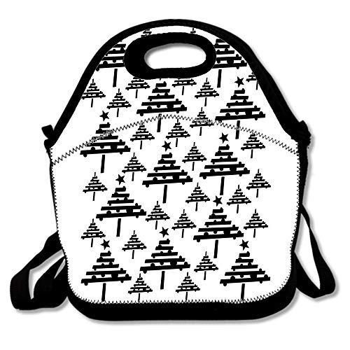 Black And White Christmas Tree Holiday Pattern Insulated Neoprene Lunch Bag/Lunch Box/Lunch Tote/Picnic Bag Lightweight Handbag Gourmet Food Containers for Women, Men, Teens,Girls, Boys, Kids